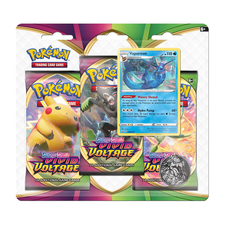 Kartová hra Pokémon TCG: Sword and Shield Vivid Voltage - 3-Pack Blister Booster (Vaporeon)