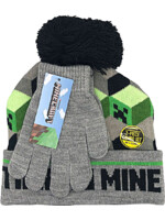 Čiapka s rukavicami Minecraft - Time to Mine