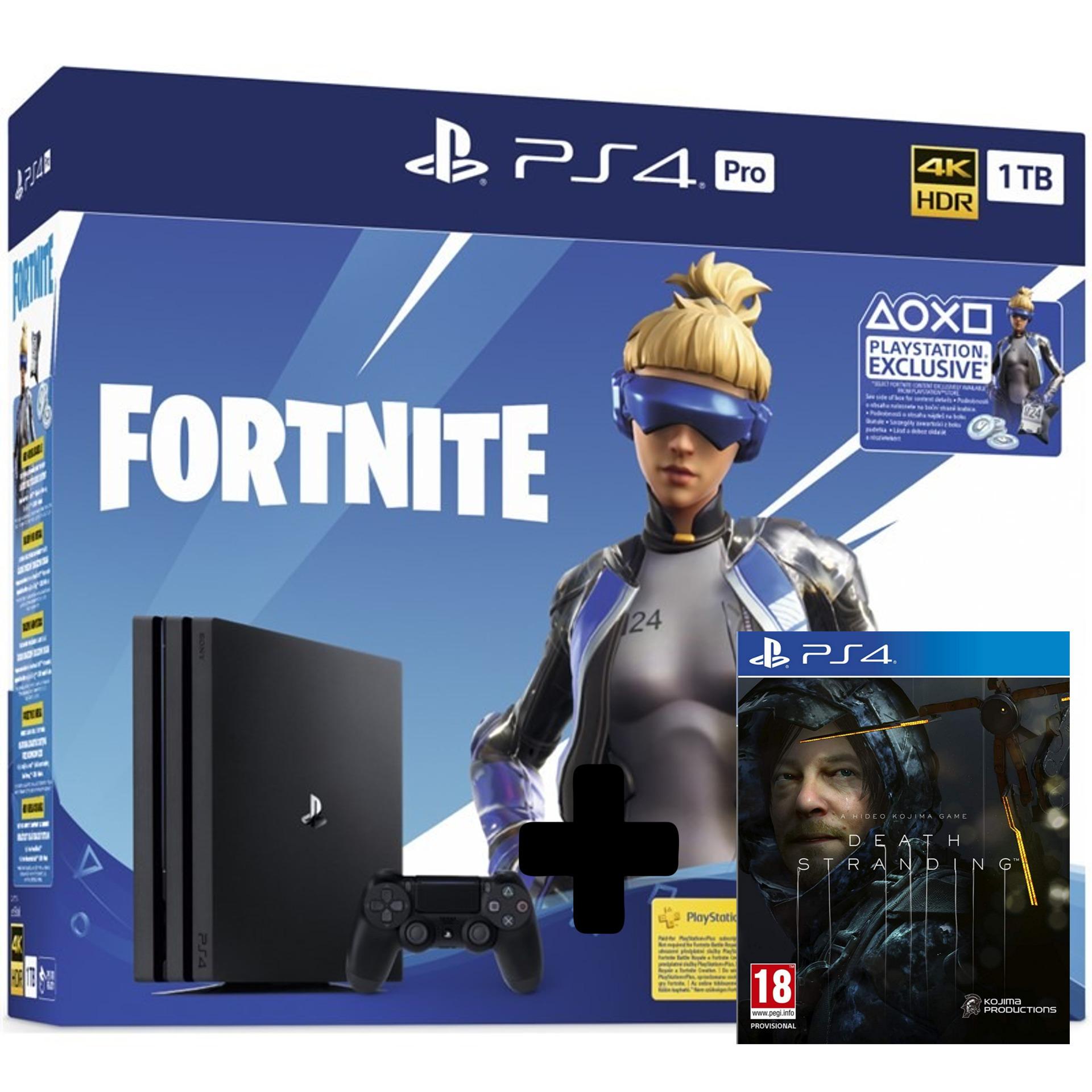 Konzola PlayStation 4 Pro 1TB + balíček Fortnite 2000 V Bucks + Death Stranding (PS4)